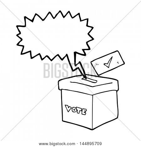 freehand drawn speech bubble cartoon ballot box