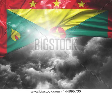 Grenada flag on a bad day