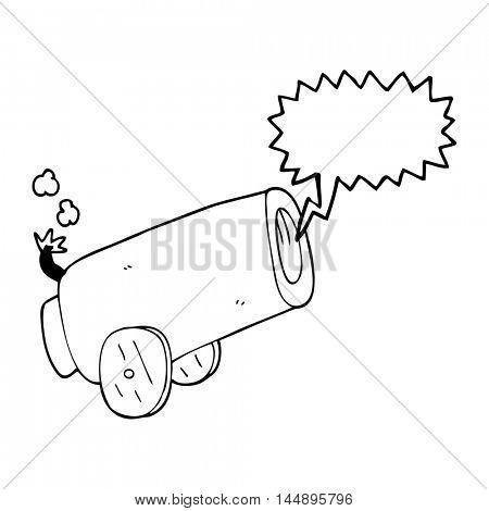 freehand drawn speech bubble cartoon cannon