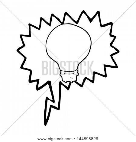 freehand drawn speech bubble cartoon light bulb
