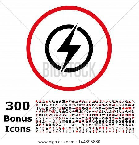 Electricity rounded icon with 300 bonus icons. Glyph illustration style is flat iconic bicolor symbols, intensive red and black colors, white background.