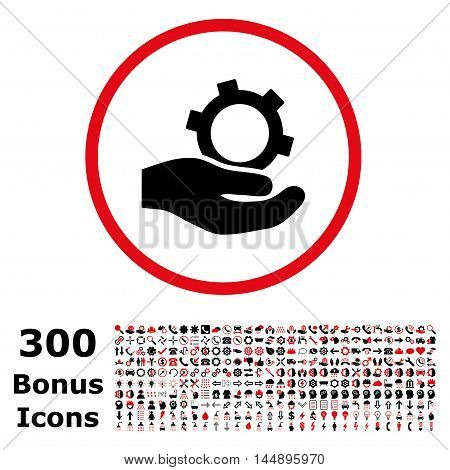 Engineering Service rounded icon with 300 bonus icons. Glyph illustration style is flat iconic bicolor symbols, intensive red and black colors, white background.