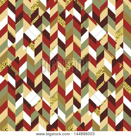 Seamless mosaic geometric color pattern with gold. Ready for fabric, wrap paper design, website background.