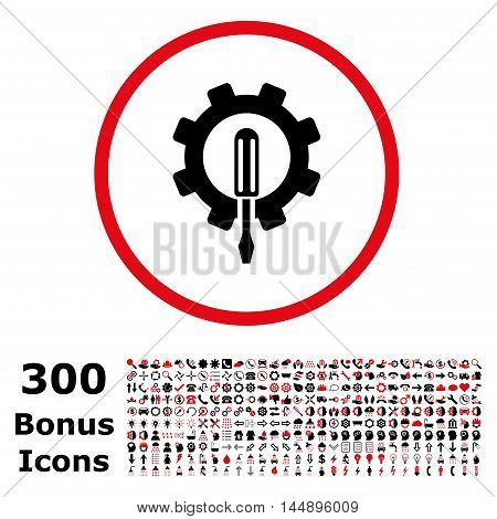 Engineering rounded icon with 300 bonus icons. Glyph illustration style is flat iconic bicolor symbols, intensive red and black colors, white background.