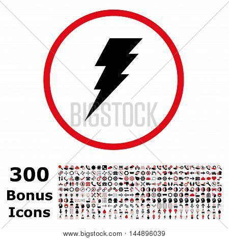 Execute rounded icon with 300 bonus icons. Glyph illustration style is flat iconic bicolor symbols, intensive red and black colors, white background.