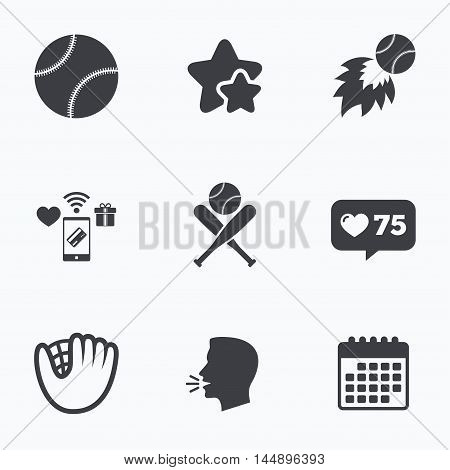 Baseball sport icons. Ball with glove and two crosswise bats signs. Fireball symbol. Flat talking head, calendar icons. Stars, like counter icons. Vector