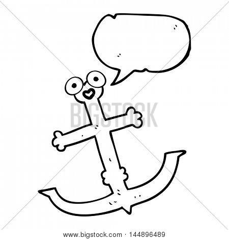 freehand drawn speech bubble cartoon anchor