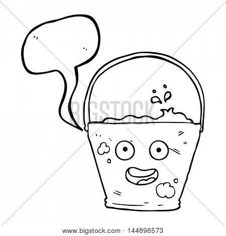 freehand drawn speech bubble cartoon bucket