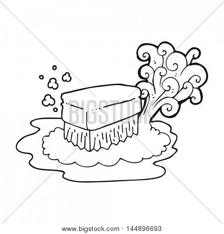 freehand drawn black and white cartoon scrubbing brush