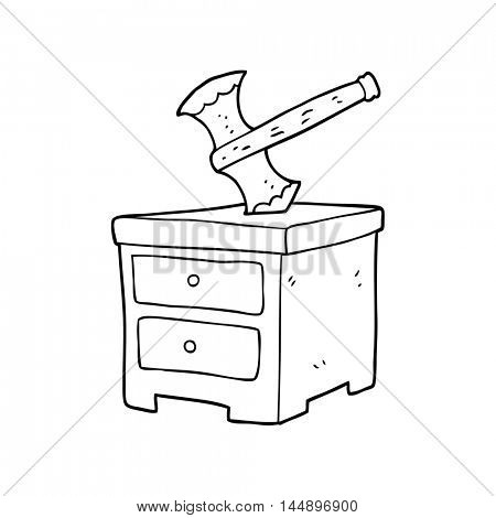 freehand drawn black and white cartoon axe buried in chest of drawers