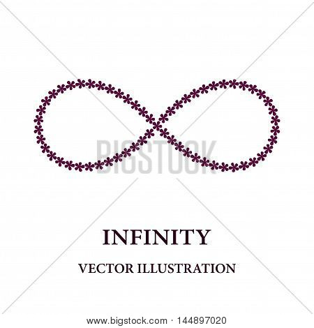 Abstract infinity symbol consisted of little flowers