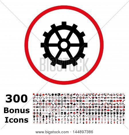 Gear rounded icon with 300 bonus icons. Glyph illustration style is flat iconic bicolor symbols, intensive red and black colors, white background.