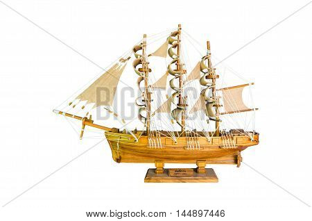 wooden handmade clipper ship for home decoration isolated