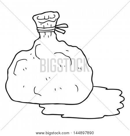 freehand drawn black and white cartoon bag of garbage