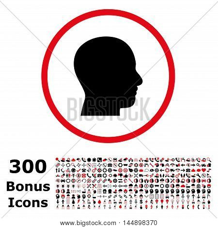 Head Profile rounded icon with 300 bonus icons. Glyph illustration style is flat iconic bicolor symbols, intensive red and black colors, white background.