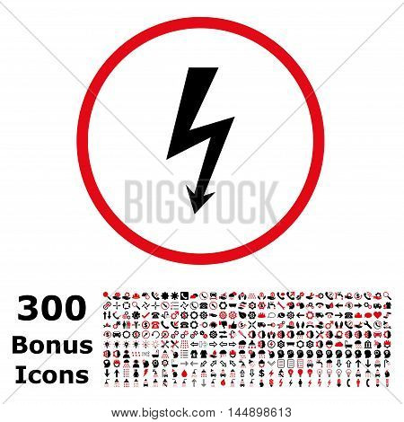 High Voltage rounded icon with 300 bonus icons. Glyph illustration style is flat iconic bicolor symbols, intensive red and black colors, white background.
