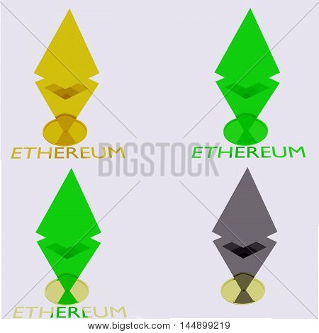 sign cryptocurrency ethereum different colors - green, yellow, gray