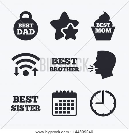 Best mom and dad, brother and sister icons. Weight and cupcake signs. Award symbols. Wifi internet, favorite stars, calendar and clock. Talking head. Vector