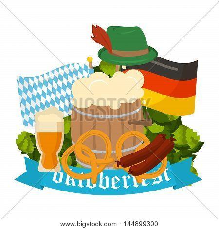 Oktoberfest celebration vector poster. Oktoberfest vector text. Beer Oktoberfest German festival keg of beer bottle beer. Festive Oktoberfest Banners Headers with Beer Wurst Flag and Pretzel.