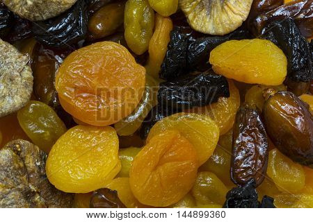 background of dried and sun dried fruits close-up shot