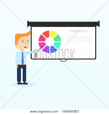 Happy businessmen characters smiling shows presentation on projection screen. Startup entrepreneur presenting information. Vector isolated flat illustration.