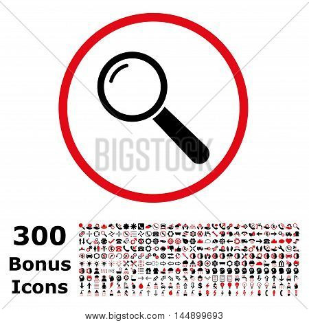 Magnifier rounded icon with 300 bonus icons. Glyph illustration style is flat iconic bicolor symbols, intensive red and black colors, white background.
