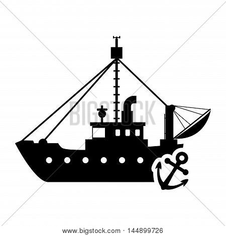 ship boat anchor transportation nautical marine silhouette icon. Flat and Isolated design. Vector illustration