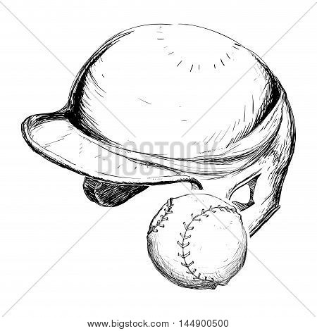 helmet ball baseball sport competition game hobby icon. Sketch and Isolated design. Vector illustration