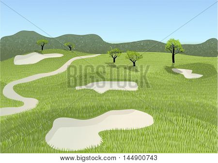 golf course. Golf place with gorgeous green and sand bunker.