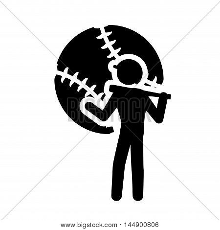 ball player man person baseball sport competition game hobby icon. Flat and Isolated design. Vector illustration