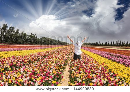 Flower kibbutz near Gaza Strip. Spring flowering buttercups. Stunned tourist in white shirt and bandana greets the rising sun