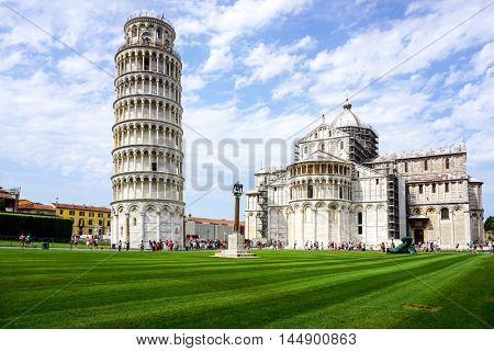 Leaning Tower of Pisa in Tuscany,Italy. a Unesco World Heritage Site.