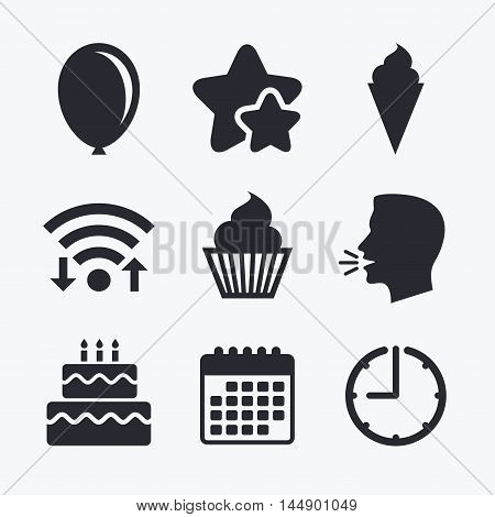 Birthday party icons. Cake with ice cream signs. Air balloon symbol. Wifi internet, favorite stars, calendar and clock. Talking head. Vector