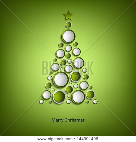 Christmas card with tree of green rings template vector eps 10