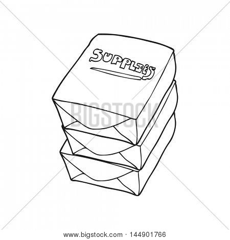 freehand drawn black and white cartoon stack of office paper