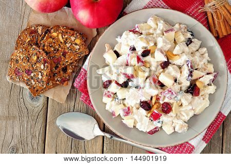 Autumn Salad Dish With Chicken, Apples, Nuts And Cranberries, Overhead Scene On Rustic Wood Backgrou