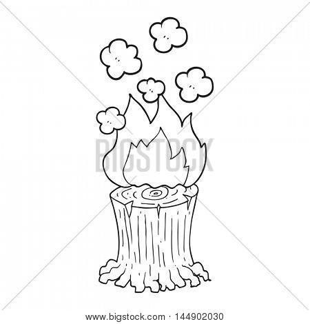 freehand drawn black and white cartoon burning tree stump