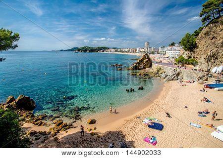 Beach Sa Caleta in Lloret de Mar, Spain