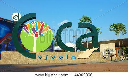 Puerto Francisco de Orellana, Orellana / Ecuador - January 16 2016: Three-dimensional logo of the town of El Coca located in the central park of the town