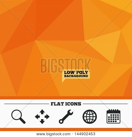 Triangular low poly orange background. Magnifier glass and globe search icons. Fullscreen arrows and wrench key repair sign symbols. Calendar flat icon. Vector