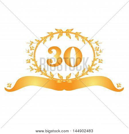 30th anniversary golden floral banner design element