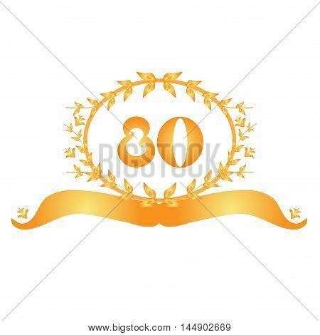 80th anniversary golden floral banner design element