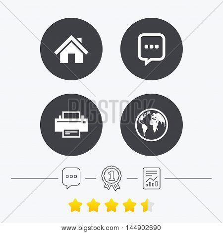 Home main page and globe icons. Printer and chat speech bubble with suspension points sign symbols. Chat, award medal and report linear icons. Star vote ranking. Vector