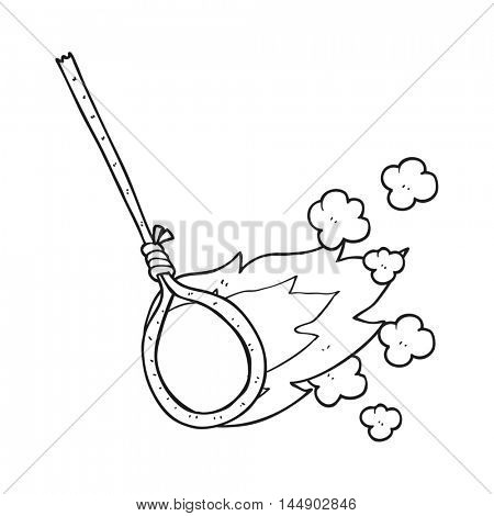 freehand drawn black and white cartoon flaming noose