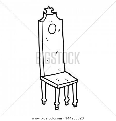 freehand drawn black and white cartoon fancy chair