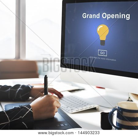 Grand Opening Light Bulb Icon Concept