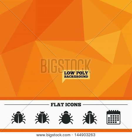 Triangular low poly orange background. Bugs vaccination icons. Virus software error sign symbols. Calendar flat icon. Vector
