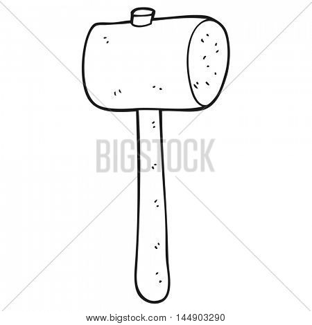 freehand drawn black and white cartoon wooden mallet