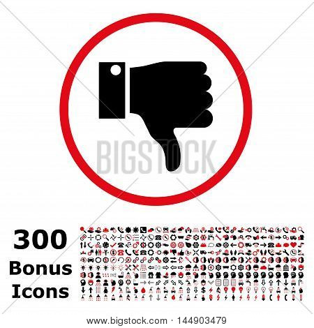 Thumb Down rounded icon with 300 bonus icons. Glyph illustration style is flat iconic bicolor symbols, intensive red and black colors, white background.
