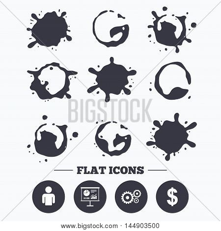 Paint, coffee or milk splash blots. Business icons. Human silhouette and presentation board with charts signs. Dollar currency and gear symbols. Smudges splashes drops. Vector